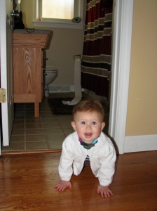 She pulled the toilet paper off the roll, it scared her, so she was crawling away
