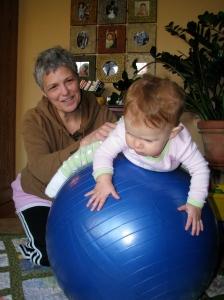 Grandma put hazel on the exercise ball