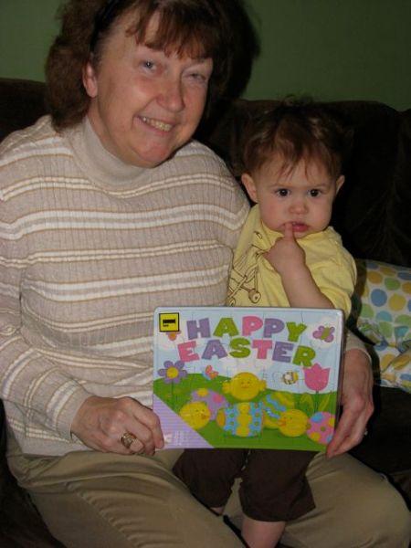 Opening Hazel's Easter basket