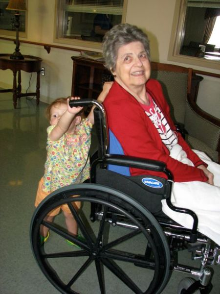 Hazel trying to take great-grandma Bud for a spin