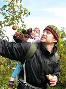 picking apples with daddy, that one never made it to the bag