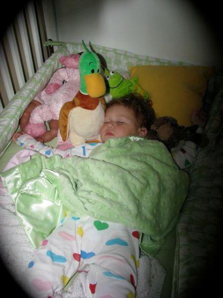 Hazel with: baby Sachma, Piggie, Duck, Zorg, and Monkey